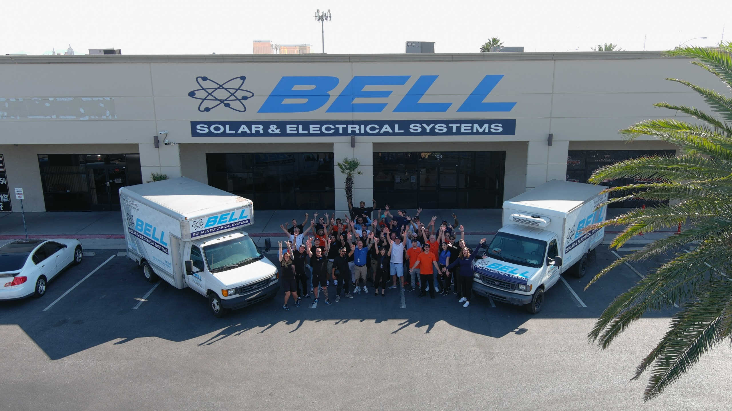 Bell Solar & Electrical Group Photo - drone shot